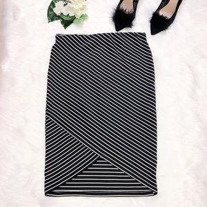 Midi Stripes Skirt, Black and White, Size Large